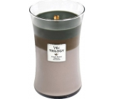 WoodWick Trilogy Cozy Cabin - Cozy log cabin scented candle with wooden wick and lid glass large 609.5 g