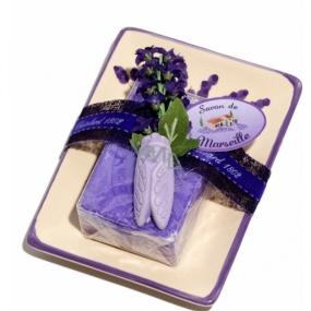 Le Chatelard Lavender ceramic soap dish with toilet soap 100 g
