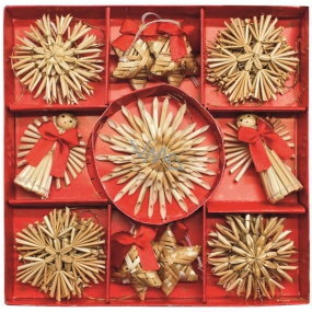 Straw decorations in box approx. 7 cm, 23 pieces
