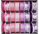 Ditipo Satin pink light ribbon, polka dot 3 mx 25 mm