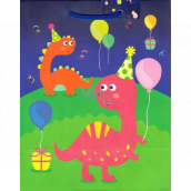 Ditipo Gift Paper Bag Medium Green Blue Dinosaurs 18 x 23 x 10 cm