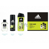 Adidas Pure Game aftershave 50 ml + 3 in 1 shower gel for body, face and hair 250 ml + deodorant spray 150 ml, cosmetic set