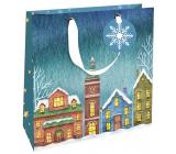 Nekupto Gift paper bag luxury 23 x 23 cm Christmas houses WLIM 1976