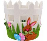 Felt flower pot cover with hare 16 x 15 cm