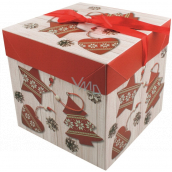 Folding gift box with Christmas ribbon with red decorations 21.5 x 21.5 x 21.5 cm