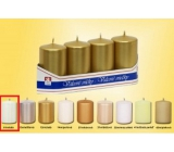 Lima Candle smooth metal white cylinder 40 x 70 mm 4 pieces