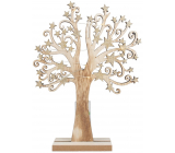 Wooden tree with golden stars 22 x 30 cm with LED lights