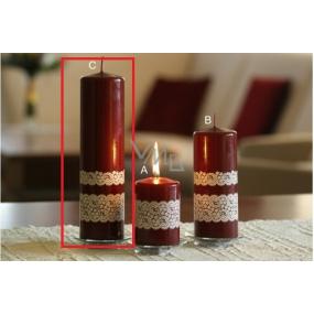 Lima Krajka svíčka vínová válec 60 x 220 mm 1 kus