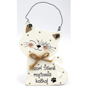 Nekupto Pets Wooden sign Attention! Madly cute cat 12 x 8,5 cm