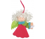 Angel of colorful color - green wings for hanging 10 cm