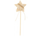 Decorations beige 6 cm star + skewels 3738 4687