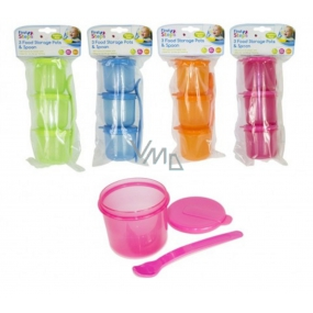 First Step Travel set for feeding 3 closable jars + female yellow, for children 6+