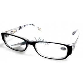 Berkeley Reading glasses +4.0 plastic black, sides with rectangles 1 piece MC2084