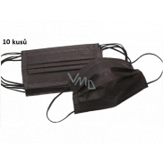 Veil 3-layer protective medical non-woven disposable, low breathing resistance 10 pieces black