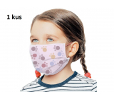 Veil 3 layer protective medical non-woven disposable, low respiratory resistance for children 1 piece pink paw print