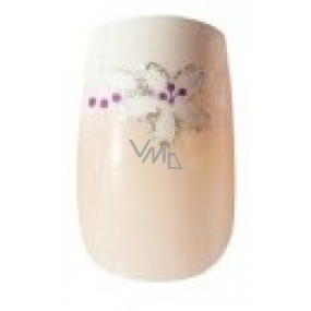 Diva & Nice Natureasy Nails Decorated natural nails with silver flowers 24 pieces + glue 2 g