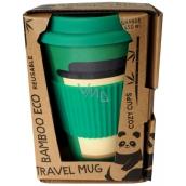 Bamboo Eco Cup Thermo Mug + silicone lid dark green 450 ml