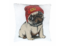 Albi Pillow with sequins Pug 37 x 37 x 10 cm