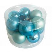 Flasks glass turquoise set 2 cm, 12 pieces