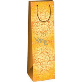 Ditipo Gift paper bag for bottle 12.3 x 7.8 x 36.2 cm brown yellow pattern ST