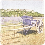 Bohemia Gifts Carriage with decorative tile background 10 x 10 cm