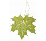 Wooden leaf for hanging green 10 cm