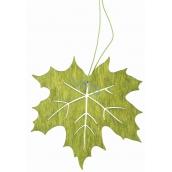 Wooden green leaf for hanging 10 cm