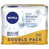 Nivea 3v1 Micelární pleťové ubrousky pro všechny typy pleťi Duo 2 x 25 kusů