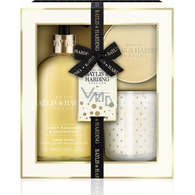 Baylis & Harding Sweet Tangerine and Grapefruit liquid hand soap 300 ml + scented candle with metal lid 200 g, cosmetic set