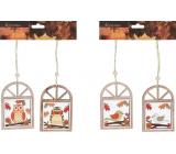 Window with owl / bird curtain wood mix 70 x 100 mm 2 pieces