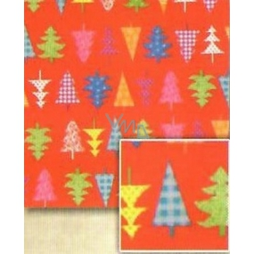 Nekupto Gift wrapping paper 70 x 500 cm Christmas Red, colored trees