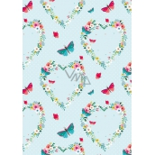 Ditipo Wrapping paper light green, hearts from flowers butterflies 100 x 70 cm 2 pieces