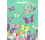 Ditipo Gift paper bag medium green color butterflies 18 x 23 x 10 cm