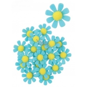 Felt flowers with glue blue decoration 3.5 cm in a box of 18 pieces