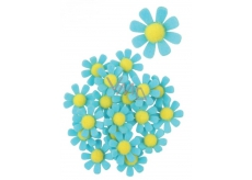 Felt flowers with blue decoration sticker 3.5 cm in a box of 18 pieces