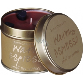 Bomb Cosmetics Warm Espresso Scented natural, handmade candle in a tin can burns for up to 35 hours