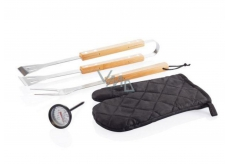 Albi Looqs Barbecue set for meat preparation, tongs, fork, grill glove and thermometer.