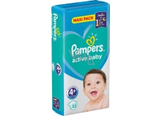 Pampers Active Baby 4+ Maxi Plus 10-15 kg nappy panties 53 pieces