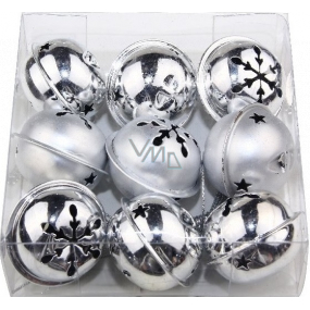 Silver bells 40 mm 9 pieces