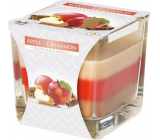 Bispol Apple & Cinnamon - Apple and cinnamon tricolor scented candle glass, burning time 32 hours 170 g