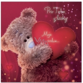 Me to You 3D greeting card For you out of love, Teddy bear with heart 15.5 x 15.5 cm