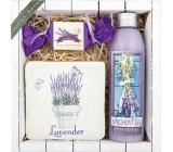 Bohemia Gifts & Cosmetics Lavender La Provence sprchový gel 200 ml + ručně vyráběné mýdlo 30 g + dekorační kachlík s potiskem 10 x 10 cm, kosmetická sada