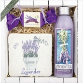 Bohemia Gifts & Cosmetics Lavender La Provence shower gel 200 ml + handmade soap 30 g + decorative tile with print 10 x 10 cm, cosmetic set