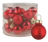 Red glass flasks set 2 cm, 12 pieces