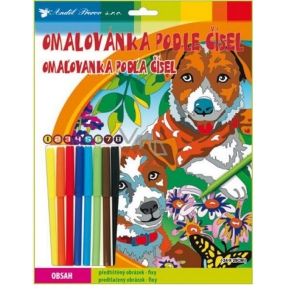 Coloring Book by Numbers with Fixes Dogs 24 x 29 cm