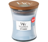WoodWick Soft Chambray - Clean linen scented candle with wooden wick and glass lid small 85 g