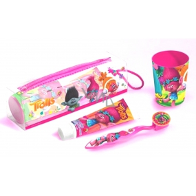 Trolls soft toothbrush with cover + toothpaste + case + crucible + dental floss, dental hygiene set for girls