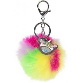Dinky Bear Keychain Pom Pom Rainbow