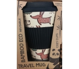 Cozy Time Bamboo Eco Dogs bamboo ecological thermo mug + black silicone cap, dogs 450 ml