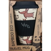 Cozy Time Bamboo Eco Dogs bamboo ecological thermo mug + silicone lid black, dogs 450 ml